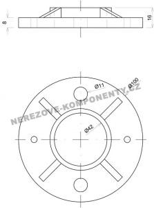 Horní kotvení velké - sloupek zábradlí pr. 42,4 mm