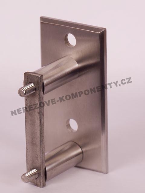 Boční kotvení sloupku pr. 42,4 mm - 2x šroub + hranatá platle