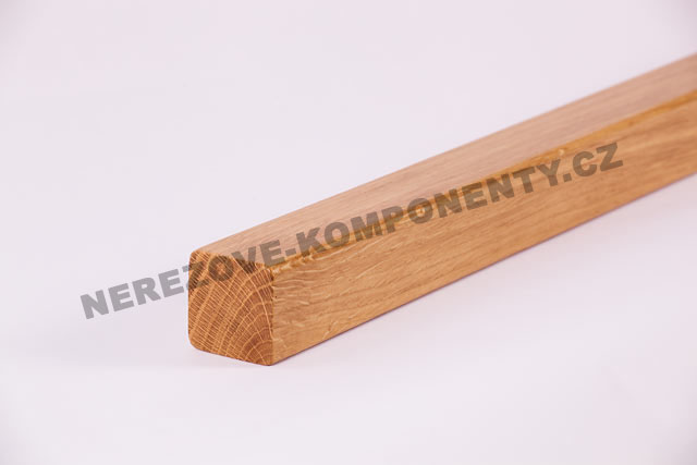 Hranaté dubové madlo zábradlí 45x40 mm - 1 m