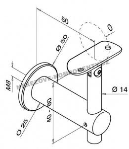 Držák madla na stěnu s krčkem (stavitelný KM)