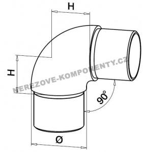 Spojka nerezového madla 42,4 mm - 90 st. (koleno)