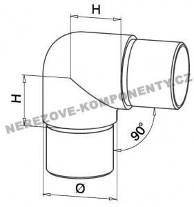 Spojka nerezového madla 42,4 mm - 90 st. (zaoblená)