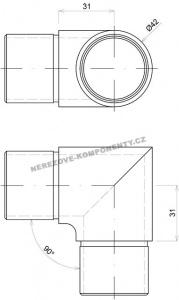 Spojka nerezového madla 42,4 mm - 90 st. (ostrá)