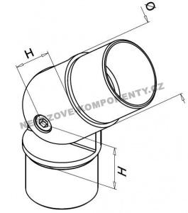 Spojka nerezového madla 42,4 mm - stavitelná