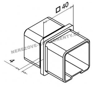 Spojka nerezového madla 40x40 mm- rovná