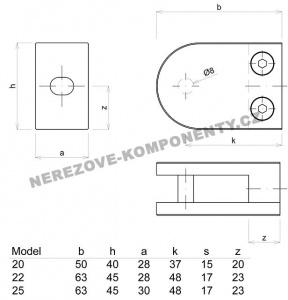 Držák skla kulatý - model 22 HS