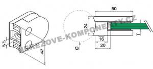 Kulatý držák skla zábradlí - model 20 KS