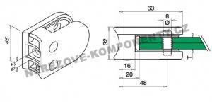 Kulatý držák skla zábradlí - model 25 KS