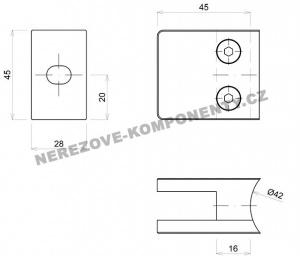 Hranatý držák skla zábradlí - model 21 KS