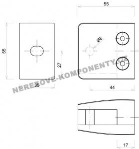 Držák skla hranatý - model 26 HS