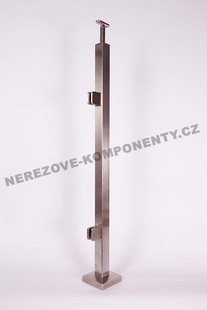 Nerezové zábradlí - sloupek 40x40 mm - horní - sklo